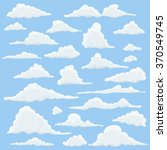 Cartoon Clouds Set On Blue Sky Background. Set of funny cartoon clouds, smoke patterns and fog icons, for filling your sky scenes or ui games backgrounds. Vector | Shutterstock vector #370549745