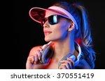 girl listening music with...   Shutterstock . vector #370551419