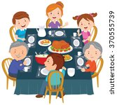 family dinner. happy extended... | Shutterstock .eps vector #370555739
