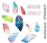 watercolor crystals set. hand...   Shutterstock . vector #370563617