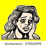 sad broken hearted girl crying... | Shutterstock .eps vector #370563995