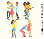 couples in love activities ... | Shutterstock .eps vector #370568681