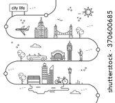 city of life travel line design | Shutterstock .eps vector #370600685