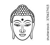 buddha face. black line... | Shutterstock .eps vector #370627415