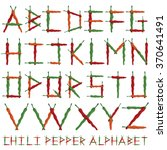 chili pepper alphabet with red  ... | Shutterstock .eps vector #370641491