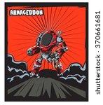 warrior robot comic cartoon... | Shutterstock .eps vector #370661681