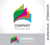 colorful leaves of a book  logo ... | Shutterstock .eps vector #370664234