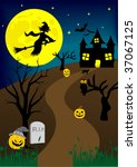halloween background with old... | Shutterstock . vector #37067125