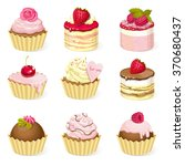 set of sweet cupcakes with... | Shutterstock .eps vector #370680437