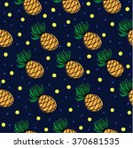 pineapple seamless pattern with ... | Shutterstock .eps vector #370681535