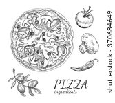 ink hand drawn pizza ingredient ...   Shutterstock .eps vector #370684649