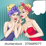 two pin up girls whispering a... | Shutterstock .eps vector #370689077