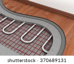 Floor heating system. We see layers of insulation for heating. - stock photo