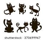 six black vector doodle cats... | Shutterstock .eps vector #370699967