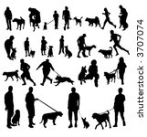 people with dogs silhouettes | Shutterstock .eps vector #3707074