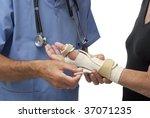 doctor fixing female patient's... | Shutterstock . vector #37071235
