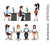 a group of people in the office.... | Shutterstock .eps vector #370731311