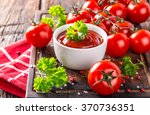 bowl of tomato sauce and cherry ... | Shutterstock . vector #370736351