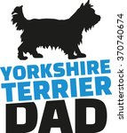 yorkshire terrier dad with dog... | Shutterstock .eps vector #370740674