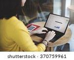 woman browsing correspondence e ... | Shutterstock . vector #370759961