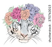 Vector Tiger In A Wreath Of...