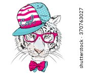 vector tiger wearing glasses... | Shutterstock .eps vector #370763027