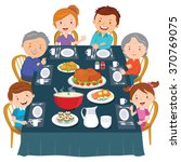 thanksgiving dinner. family... | Shutterstock .eps vector #370769075