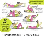 exercises for the abs. fitness  ... | Shutterstock .eps vector #370795511