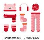 vector cute bear warm winter... | Shutterstock .eps vector #370801829