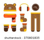 vector cute bear warm winter... | Shutterstock .eps vector #370801835