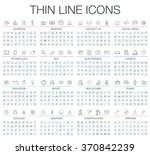 Vector illustration of thin line icons for business, banking, contact, social media, technology, seo, logistic, education, sport, medicine, travel, weather, construction, arrow. Linear symbols set. | Shutterstock vector #370842239