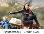 Biker Girl In Leather Jacket O...
