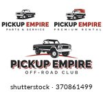 set of retro pickup trucks... | Shutterstock .eps vector #370861499