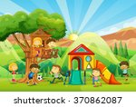children playing at the... | Shutterstock .eps vector #370862087