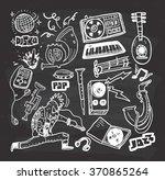 Music Doodle On Chalkboard...