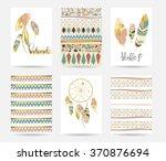 light green gold pink card... | Shutterstock .eps vector #370876694