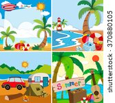 four scenes of summer vacation... | Shutterstock .eps vector #370880105