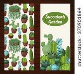cute succulent vector banners... | Shutterstock .eps vector #370901864