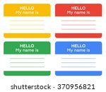hello my name is sign with... | Shutterstock . vector #370956821