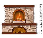 burning fireplace with firewood.... | Shutterstock .eps vector #370957391