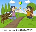 children playing volleyball at... | Shutterstock .eps vector #370960715