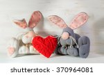 Soft Toy Bunnies With Heart On...