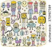 funny wacky doodle characters...   Shutterstock .eps vector #370987589
