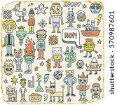 funny wacky doodle characters...   Shutterstock .eps vector #370987601