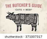 cut of beef set. poster butcher ... | Shutterstock .eps vector #371007317