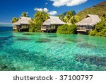 over water bungalows with steps ...   Shutterstock . vector #37100797