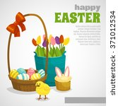 easter card with eggs basket...   Shutterstock .eps vector #371012534