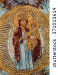 orthodox mural painting of mary ...   Shutterstock . vector #371013614