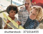 three coworkers discussing new... | Shutterstock . vector #371016455