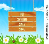 hot spring sale concept. wooden ... | Shutterstock .eps vector #371029751